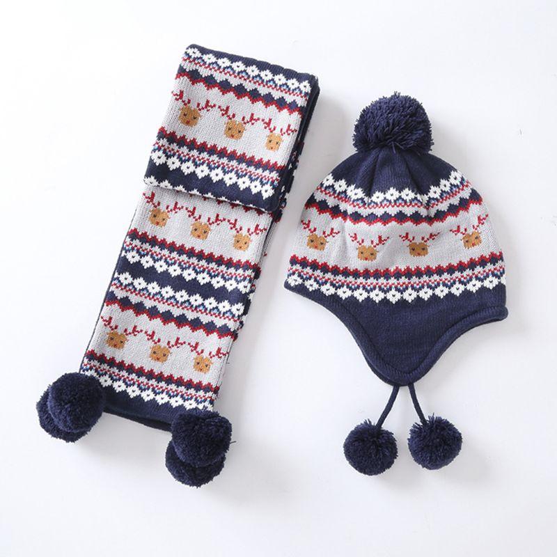 Kids Baby Winter Christmas Reindeer Pompom Earflap Beanie Cap Long Scarf Gloves C90E