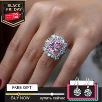 not fake 12*10mm Radiant Cut Diamond Ring S925 sterling silver fine wedding citrine sapphire amethyst ruby coloured diamond