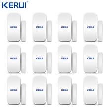 ขายส่ง 12PCS Kerui D025 ไร้สายประตูหน้าต่างเครื่องตรวจจับ Gap SENSOR สำหรับ Home ALARM ระบบ TOUCH Keypad รวมแบตเตอรี่