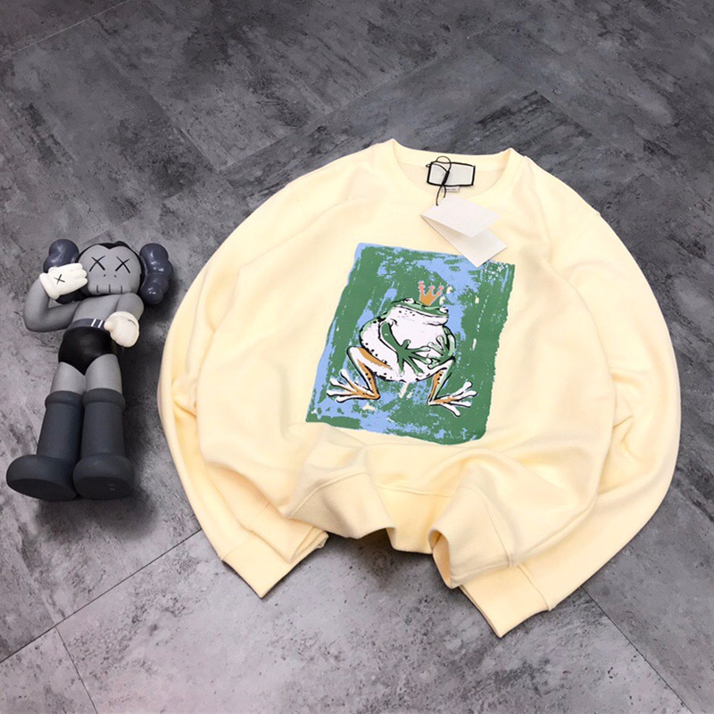 2020 Spring Women's Frog Bear Printed Couple Loose Casual Round Neck Pullover