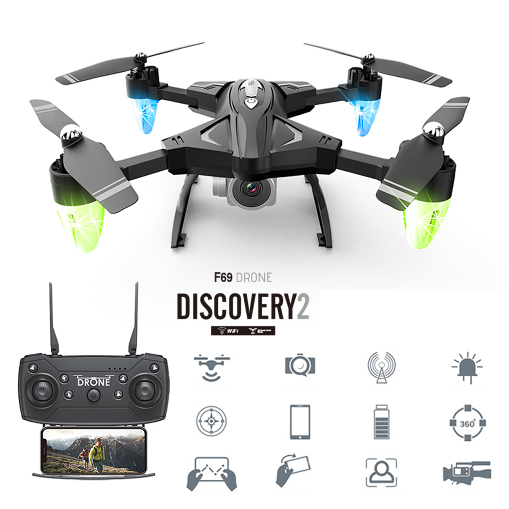 Mini Drone F69 Foldable RC With Camera 1080P 2.4Ghz 6-Axis Gyro 4CH Altitude Hold Night Light Mode Helicopter