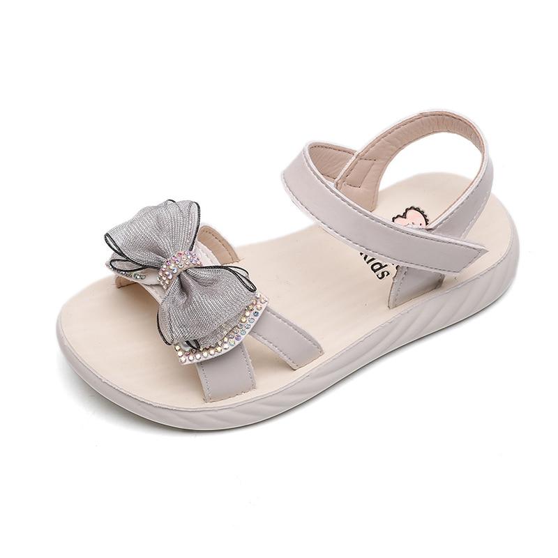 Children Sandals Princess Summer Girls Sandals Big Kids Sweet Beach Shoes Soft Rubber Bow-knot With Crystal Bling Elegant 26-37