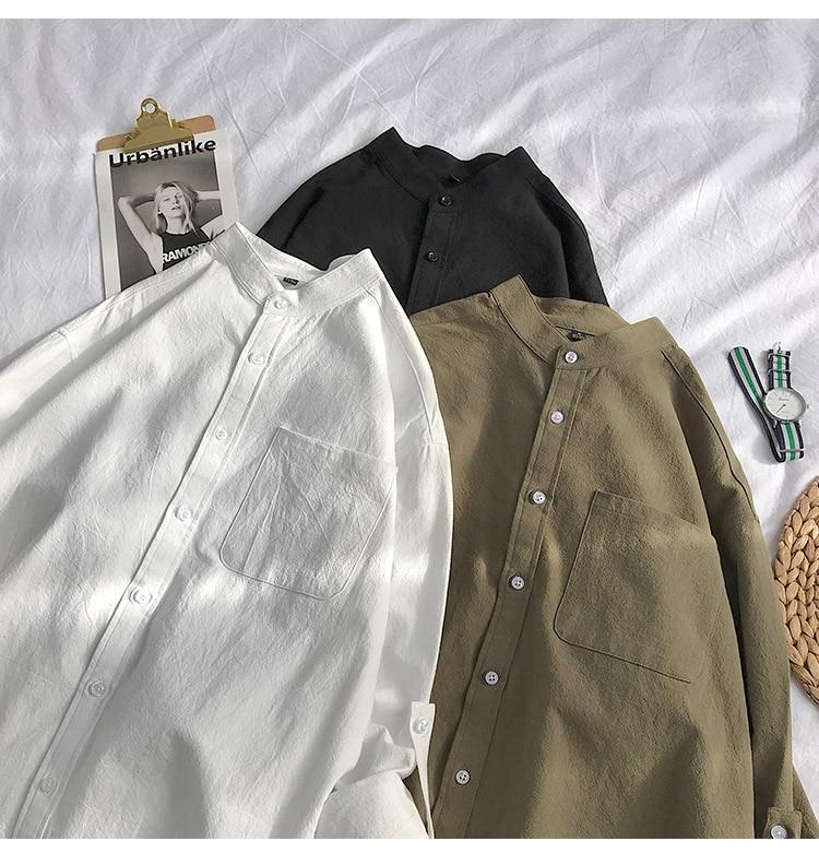 H6b0dadf3bc7443f7b97c1039cdecf486p Simple Design Solid Colors Long Sleeve Shirts Korean Fashion Mandarin Collar 100% Cotton White Black Shirt Soft and Comfort