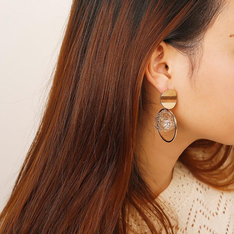 2020 Vintage Earrings Large for Women Statement Earrings Geometric Gold Metal Pendant Earrings Trend Fashion Jewelry