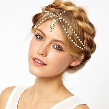 1 Pcs Boho Draping Crystal Bride Hair Accesories Elegant Head Chain Hair Jewelry Wedding Hairstyles Headpiece