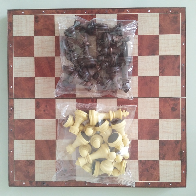 Magnetic Wood WPC International Chess & Checkers Pieces 32 Pcs/set Folding Table Games Board 31cm King 6.6cm Funny Family Game 5