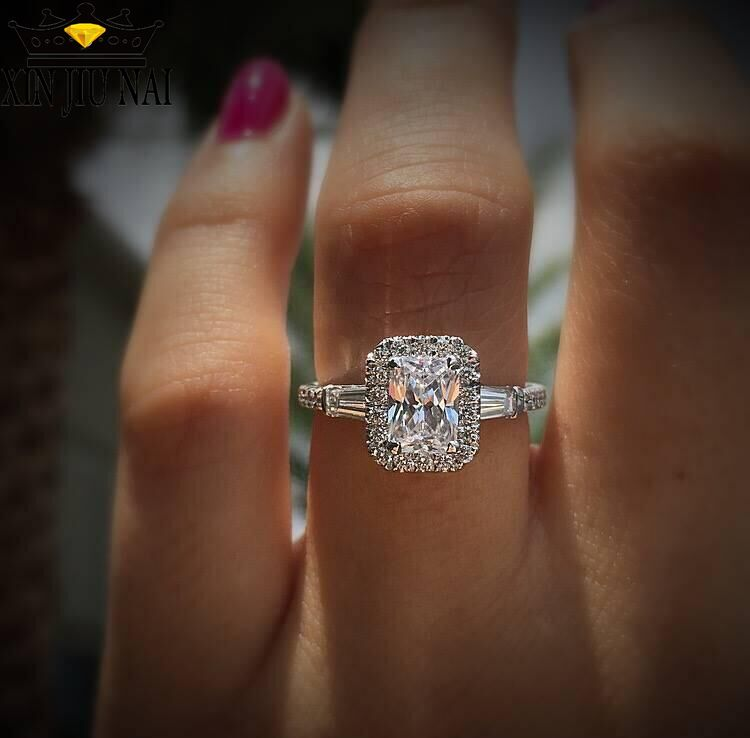 Luxury Female Big Square Zircon Love Ring Simple Brilliant Silver Engagement Ring Fashion Promise Wedding Rings For Women