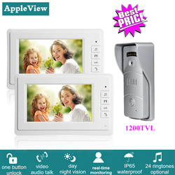 7 Inch Wired Video Intercom System With 1200TVL Video Doorbell  IR Sensor + 2 Indoor Monitors One Key Unlock for Home Security