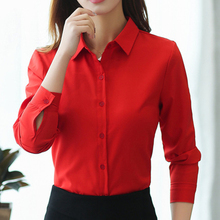 Women Shirts Korean Fashion Chiffon Shirt Plus Size Woman Solid OL Blouse Blusas Mujer De Moda 2019