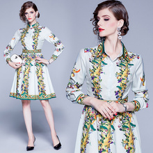 2019 New Autumn Fashion Runway Dress Women's Long Sleeve Charming Flower Print Striped A Line Pleated Holiday Casual Shirt Dress sun flower print pleated dress