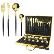 Service de couverts or noir 24 pièces   Couteau fourchette cuillère service de table, couverts occidentaux en acier inoxydable, vaisselle argenterie avec boîte-cadeau