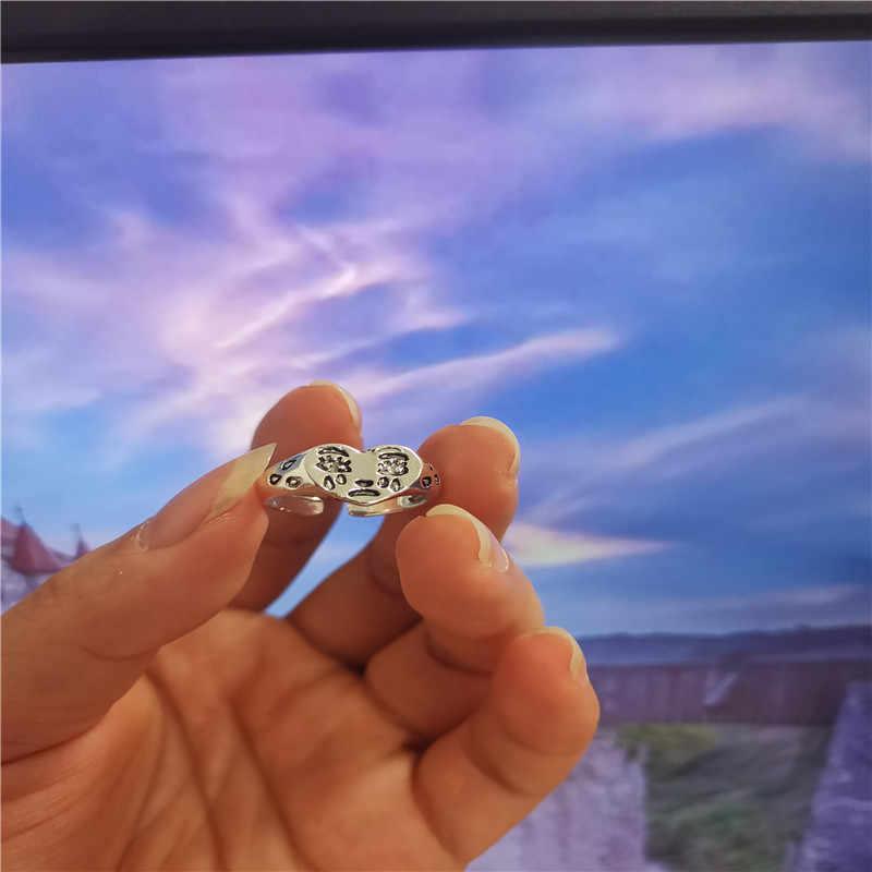 קוריאני אופנה בוכה לב טבעת עבור נשים בנות טרנדי Vintage כסף צבע פתוח מתכוונן טבעת מיוחד תכשיטי אישיות