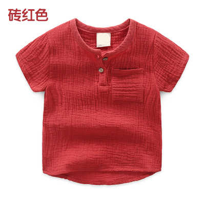 2020 בנות Tshirts ילדים כותנה בגדי ילדי חולצות עבור תינוק בנים t חולצות סוכריות מוצק קצר שרוול קיץ חולצות פשתן רך