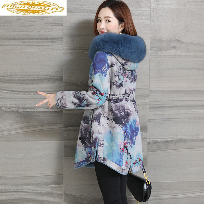 Real Fur Coat Winter Coat Women Fox Fur Collar Sheep Shearling Jacket Women 100% Wool Coats Double Side Wear Jackets MY