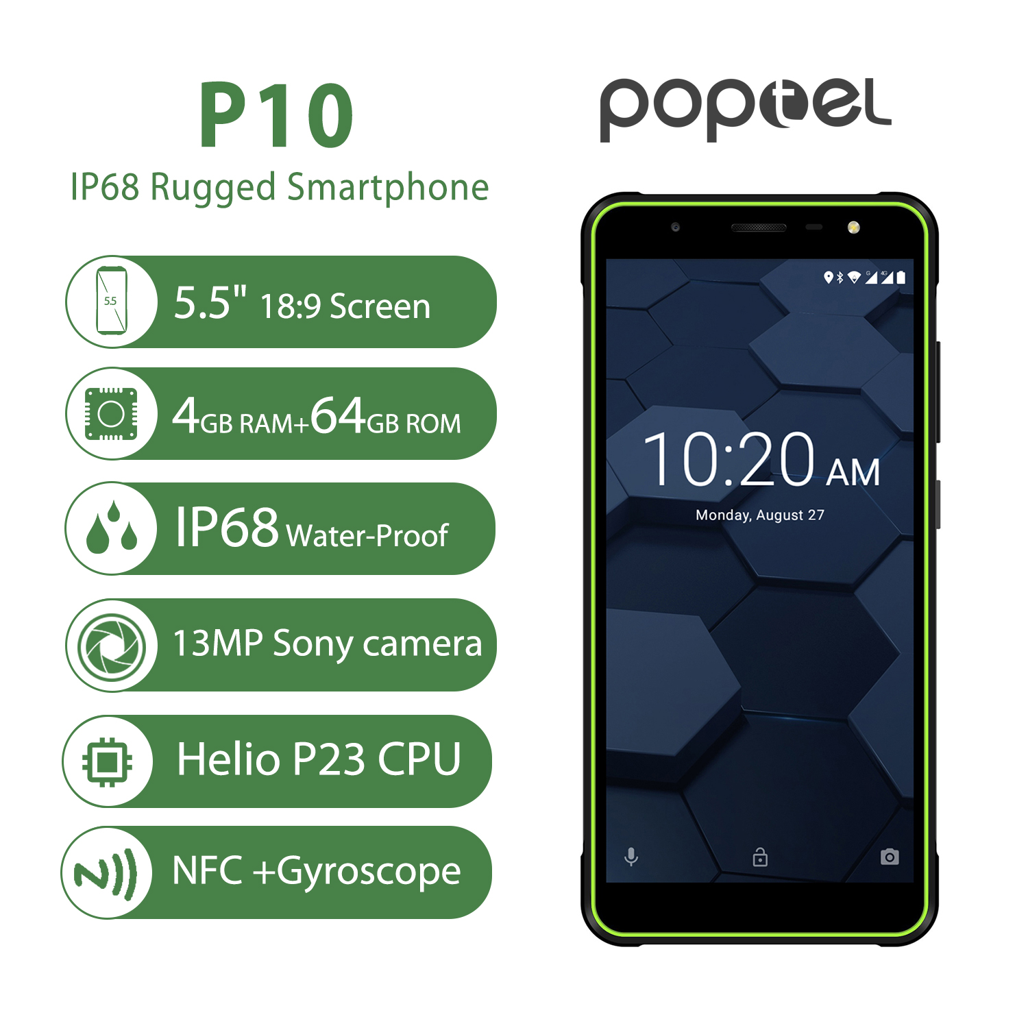 Global version Poptel P10 rugged smartphone 5.5 inch octa core android 8.1 4GB+64GB NFC unlocked phones cost effective phone image