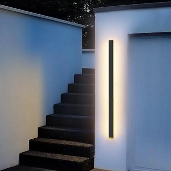 Zewnętrzna ściana światło LED wodoodporna ściana lampa IP65 aluminiowa długa zewnętrzna ściana światło dla Garden Villa światło werandy oprawa tanie i dobre opinie NYEASE CN (pochodzenie) ROHS Z certyfikatem VDE POLEROWANY CHROM WFWL-002 waterproof 85-265 v Lampy ścienne 3 years Z aluminium