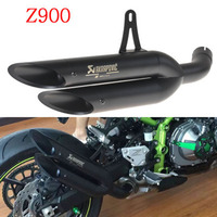 Slip On For Kawasaki Z900 Motorcycle Akrapovic Exhaust Pipe 51 mm Dual outlet Exhaust Tips Escape Moto Large Displacement