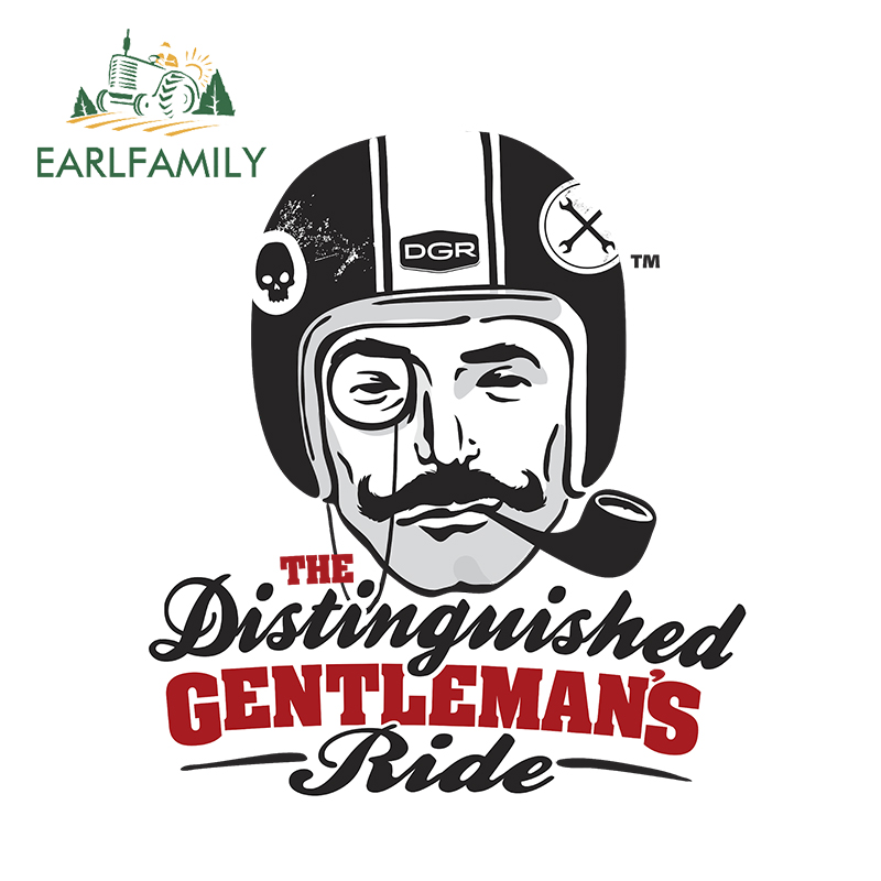 EARLFAMILY 13cm Car Styling The Distinguished Gentleman's Ride Decal Helmet Sticker Bumper Trunk Waterproof Auto Car Sticker