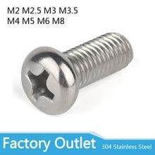 10/50 M2 M2.5 M3 M3.5 M4 M5 M6 M8 A2 304 Inoxidável aço Cruz Phillips Pan Parafuso Parafuso de Cabeça Redonda Diâmetro 2 3 4 5 3 8 milímetros Comprimento-100 milímetros