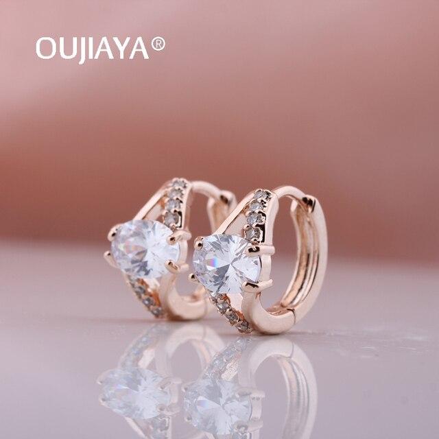 Купить oujiaya новинка 585 розовое золото белый натуральный циркон