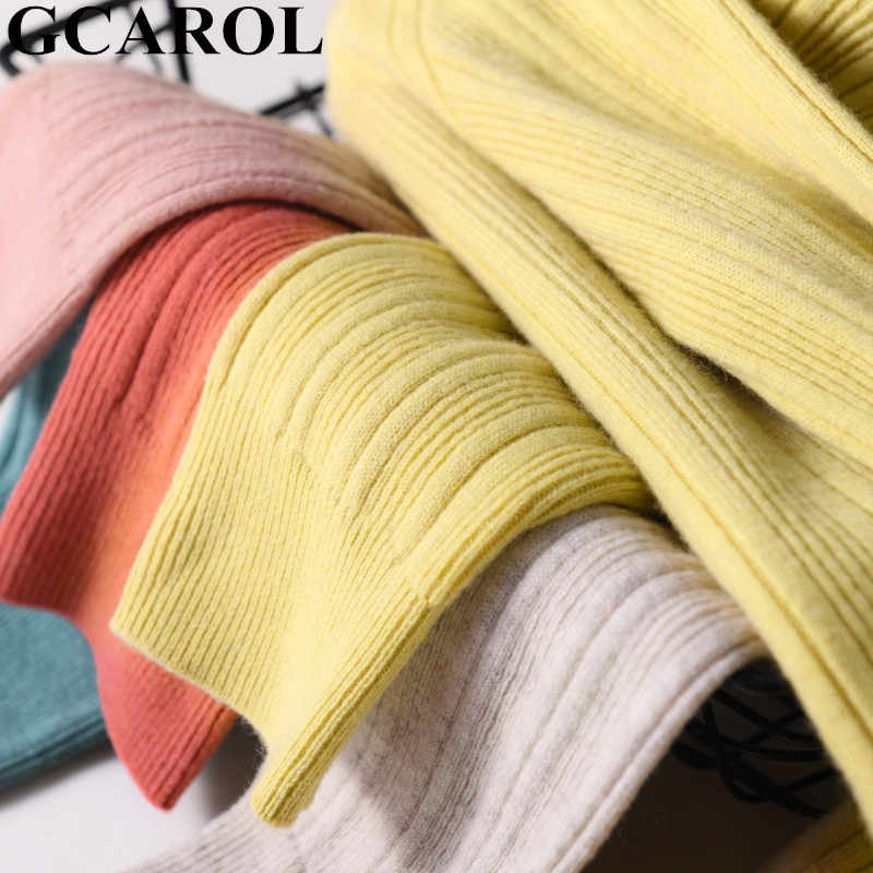 GCAROL ฤดูหนาว Minimalist Jacquard STRIPES เสื้อกันหนาว 30% ขนสัตว์หนา STAND COLLAR OL รายวัน Candy จัมเปอร์ SLIM FIT M-2XL