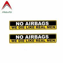 Aliauto 2 x aviso etiqueta do carro sem airbags nós morremos como os homens reais decalque acessórios pvc para civic mitsubishi lada mazda, 15cm * 3cm