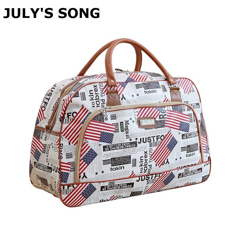 JULY'S SONG Women Travel Bag Large Capacity PU Leather Large Capacity Waterproof Print Luggage Duffle Bag Men Casual Travel Bags