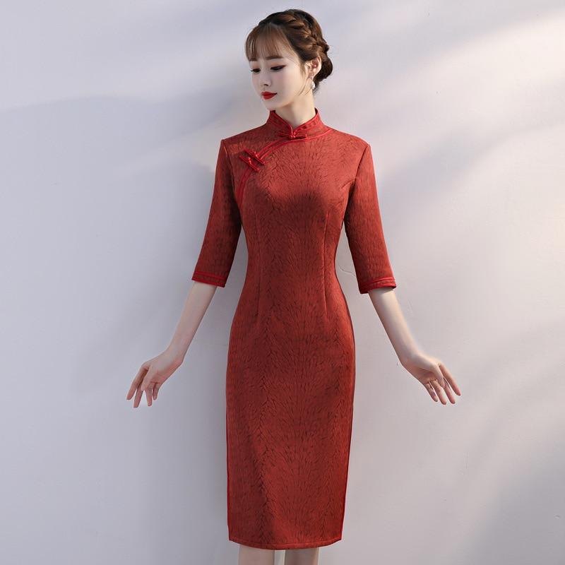 Chinese Traditional Women Velour Cheongsam Vintage Mandarin Collar Qipao Elegant Half Sleeve Slim Short Dress Big Size Vestidos