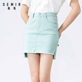 SEMIR Women Fashion Short Skirt 2020 New Personality Design Solid Color Skirt High Waist Stretc Short Skirt for female casual style high waist solid color cotton blend skirt for women