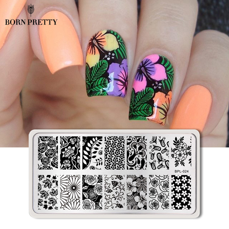 <font><b>BORN</b></font> <font><b>PRETTY</b></font> Nail Stamping Plates Lace Flower Animal Pattern Nail Art Stamp Stamping Template Image Plate Stencil Nails Tool image