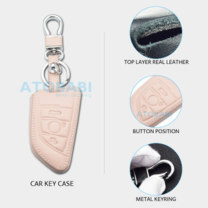 Image 3 - Leather Car Key Case For BMW 1 2 5 Series 218i X1 F48 X5 X6 F15 3 Buttons Smart Remote Control Fob Cover Keychain Protection Bag