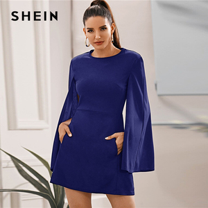 Image 4 - فستان من SHEIN بأكمام واسعة وجيب جانبي بدون حزام للنساء للخريف متين بياقة دائرية وفساتين أنيقة قصيرة