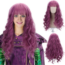 Comic Movie Mal Long Wavy Violet Cosplay Synthetic Hair Wigs with Bangs for Women Girls Party Costume Halloween(China)