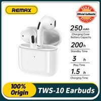 Remax-auriculares inalámbricos con Bluetooth, dispositivo de audio Tws 10i, con micrófono y cargador, para música, sonido estéreo 3D para teléfono inteligente