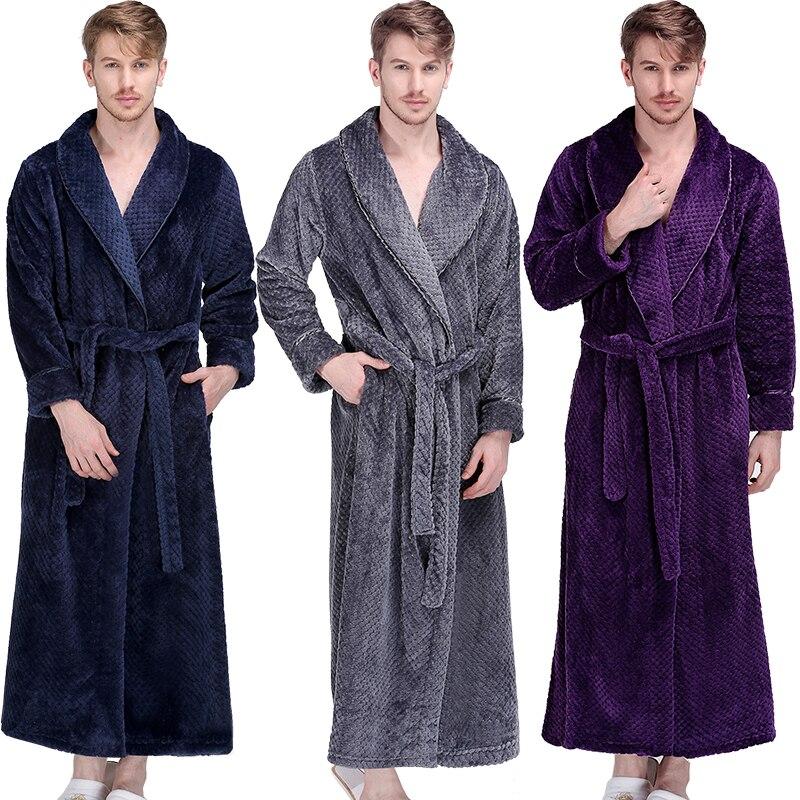 Men Flannel Winter Extra Long Thick Warm Grid  Bathrobe Mens Luxury Kimono Bath Robe Women Sexy Robes Male Thermal Dressing Gown