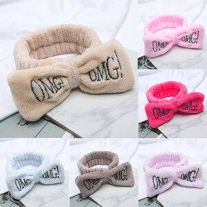Hair Bands For Women Velvet Bow Knot Letter Print Hair Ring Head Hoop Hair Accessories For Girls #YL5