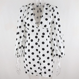 Осеннее черное платье в горошек PFFLOOK, женское облегающее мини платье с глубоким V образным вырезом и длинными рукавами фонариками, Повседневное платье с высокой талией|Платья|   | АлиЭкспресс