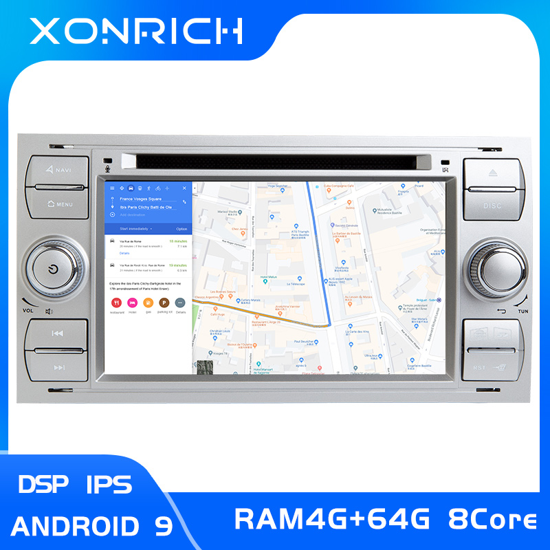 Autoradio IPS DSP 2 din Android 9 multimédia pour Ford Focus 2 3 mk2 Mondeo 4 Kuga Fiesta Transit Connect S-MAXC-MAX 8 Core4G 64G