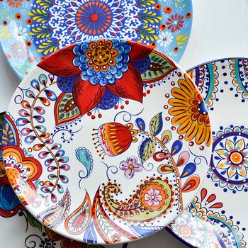 Europejski styl podszkliwne ceramiczne zastawy stołowe czeski domowy płytki talerz zachodni talerz deser stek płaski talerz tanie i dobre opinie CN (pochodzenie) liść Floral dinner Plates on-glazed 1 pcs CE EU CIQ FDA 8 5inch