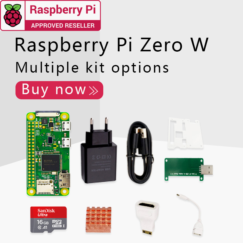 Raspberry Pi Zero W DEV Kit 1GHz Single-core CPU 512MB RAM 2.4G WiFi Bluetooth 4.1 Bundle Include Case MINI HDMI UUSB Cable