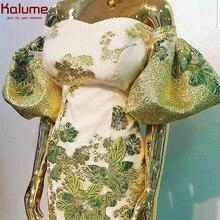 Kalume – tissu africain en dentelle dorée, haut en brocart Cyan, Tulle français, Jacquard, pour fête de mariage nigérian, nouvelle collection 2020, F1880