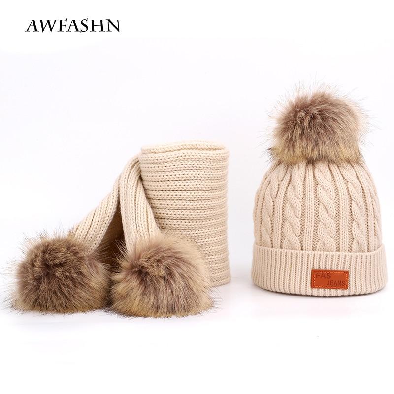 Raccoon Fur Pompom Children's Knit Hat Scarf 2 Pieces Set Winter Boy Girl Brand Soft Cap Scarves Baby Thicken Kids Wool Cute New