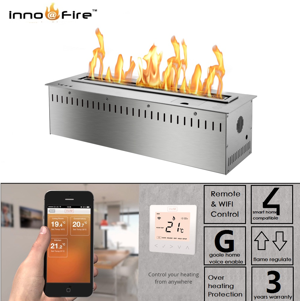 Inno Living  60 Inch Linear Electric Fireplace Bioethanol Wifi Control