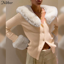 Nibber High Quality Faux Fur Top Sweater Winter Cardigan College style Street Casual Wear Christmas party Elegant Sweater Female