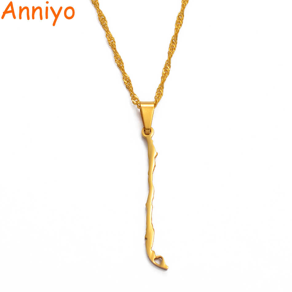 Anniyo Chile Map Pendant Necklaces Gold Color Charm Republic of Chile Jewelry Chilean Gifts #008221