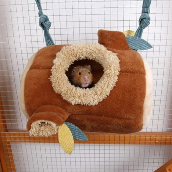 Plush Stump Hamster Tunnel Hammock Hanging Nest Soft House Bed Cage For Mini Animal Small Pet Mice Rat Nest Bed 3