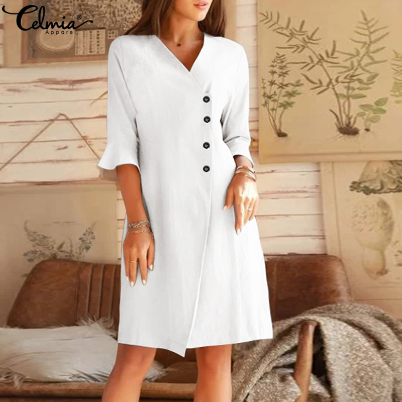 S-5XL Celmia 2020 Summer Women Dress Sexy V neck Office Lady Sundress Casual Flare Sleeve Buttons Knee-length Party Vestidos 7