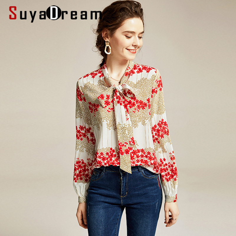 SuyaDream Women Printed Blouses 100% Silk Crepe Long Sleeved Bow Collar Buttoned Office Blouse Shirt
