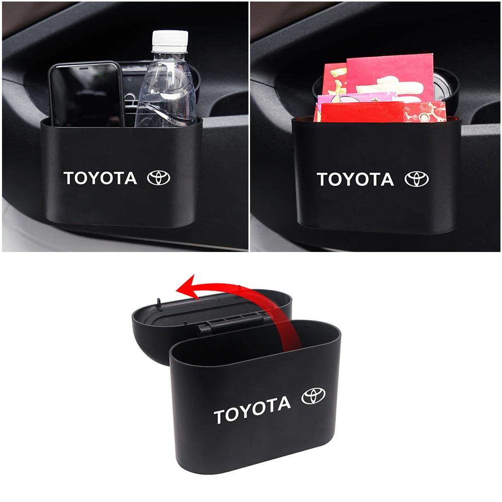 Car Trash Can Interior Organizer Storage Box Case Holder Auto Storage Bin Accessories for Toyota Prius Avensis Rav4 Auris Yaris