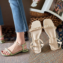 Buckle Strap 2021 Sandals Flat Summer Shoes Woman Clear Heels Suit Female Beige New Without Girls Gladiator Pearl Comfort Low